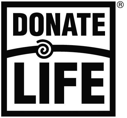 Donate Life logo, black and white