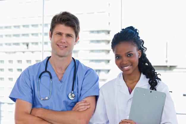 apair of happy doctors