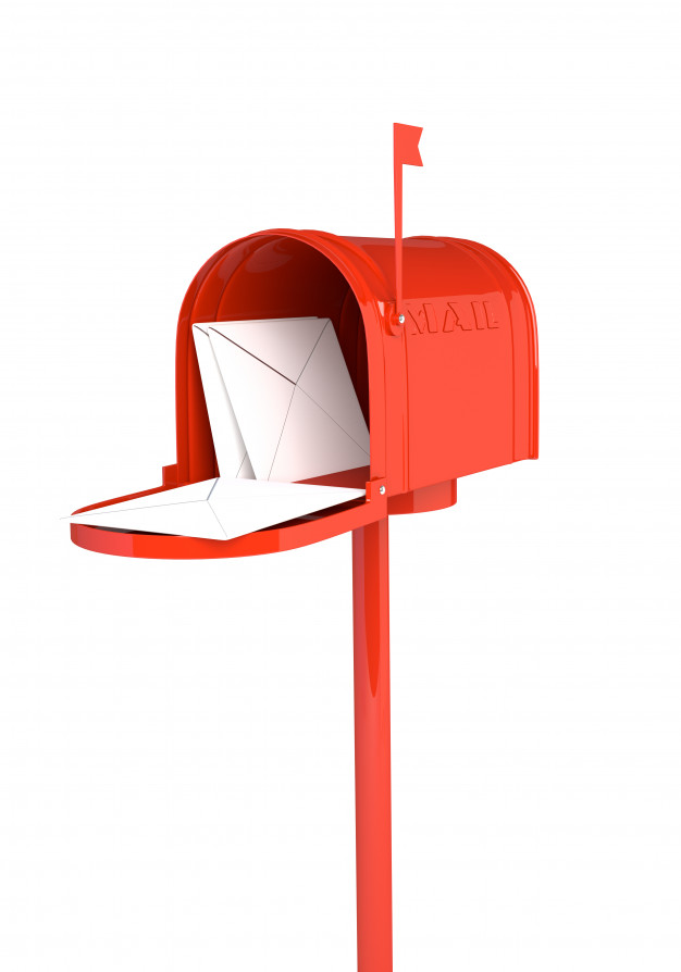 open red mailbox with several letters inside